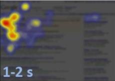 L'internaute lit dans le sens de lecture et regarde les premiers résultats centraux.