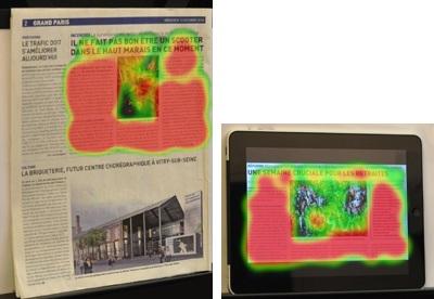 Répartition du regard identique sur un iPad et sur un journal papier