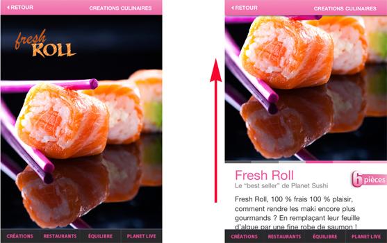 L'application de Planet Sushi permet de swiper vers le haut. Mais 0% des utilisateurs l'ont compris.