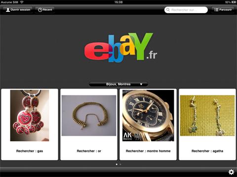 Page d'accueil de l'application d'eBay