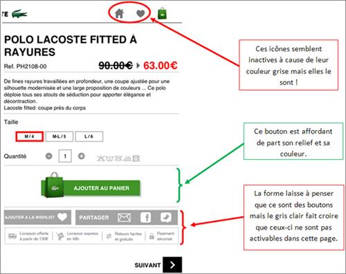 Intuitivité des boutons de l'application iPad de Lacoste