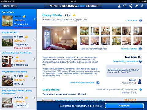 Page produit de l'application de Booking.com