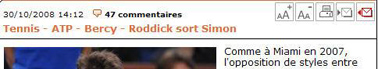 Deux icônes en entête d'article pour modifier la taille de caractères à l'écran (Source : L'Equipe.fr)