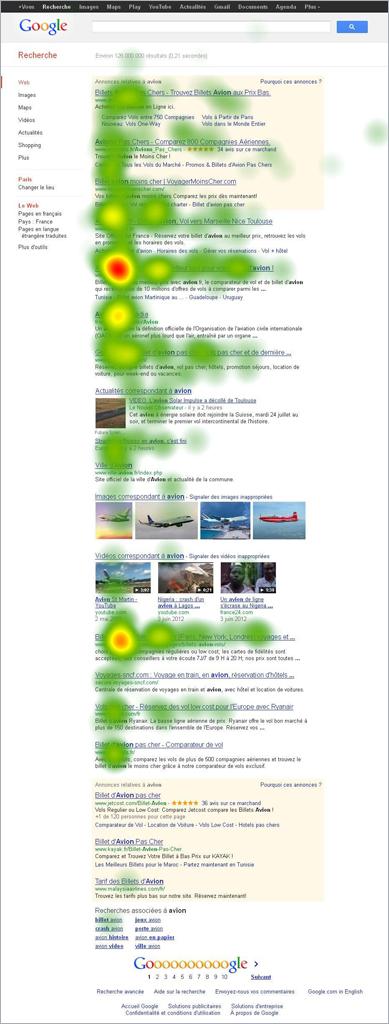 Heatmap résultats Google avec liste d'images